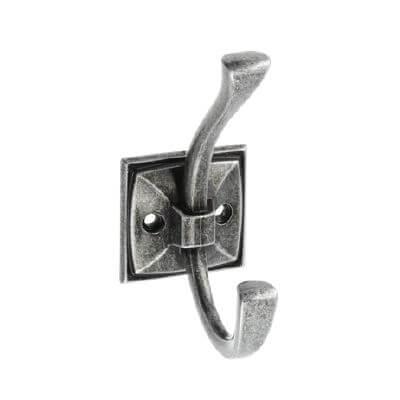 Agatatoare cuier MADRYT 108x46 mm, 2 agatatori, argintiu antichizat [0]