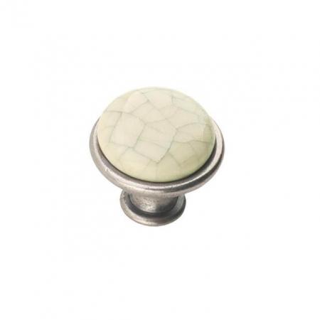 Buton mobila DG19 MLK4 29x24 mm, portelan, argintiu antichizat [1]