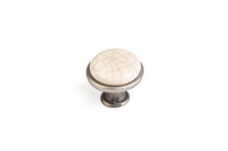 Buton mobila DG19 MLK4 29x24 mm, portelan, argintiu antichizat [0]