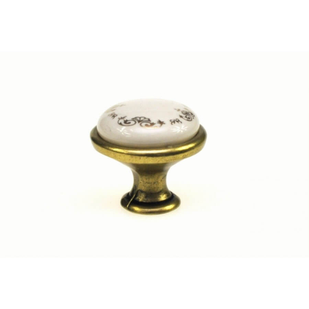 Buton mobila ORNAMENT 29x24 mm, portelan, alama antichizata [1]