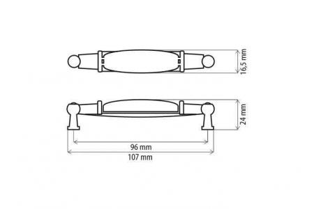 Maner mobila bucatarie ORNAMENT 96 mm, portelan, argintiu antichizat [3]