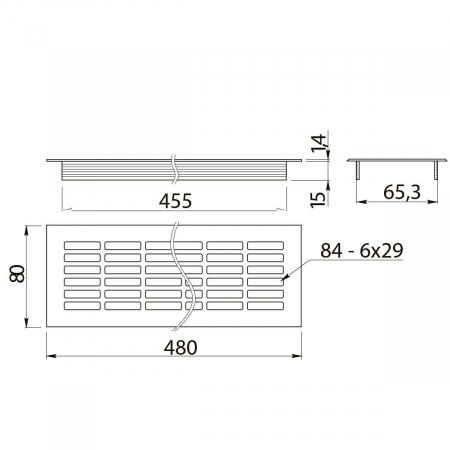 Grila ventilatie aluminiu, 480x80 mm, negru mat1