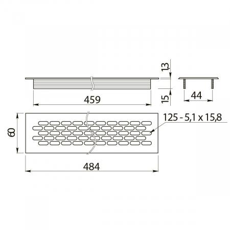 Grila ventilatie aluminiu, 484x60 mm, negru mat1