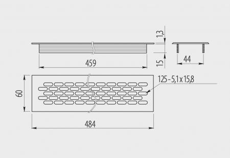 Grila ventilatie aluminiu, 484x60 mm1