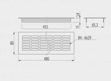 Grila ventilatie aluminiu, 480x80 mm1