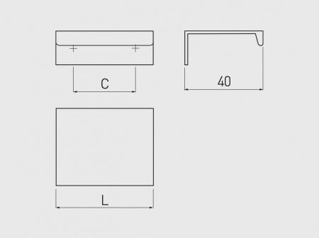 Maner mobila HEXI 225 mm, alb mat2