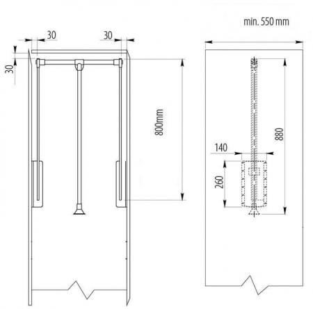 Lift haine reglabil 545-700 mm, alb, GTV - PG-GA4560-10 [2]