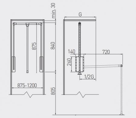 Lift haine reglabil 875-1200 mm, negru [2]