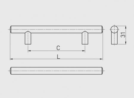 Maner mobila 256 mm, cupru antic, bara plina [3]
