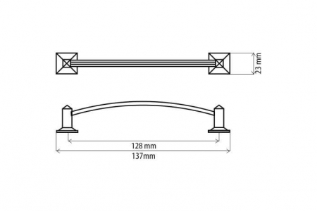 Maner mobila D115 128 mm, alama antichizata [1]