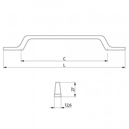 Maner mobila FLAVIO 160 mm, negru mat [2]