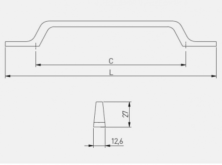 Maner mobila FLAVIO 96 mm, otel periat [1]