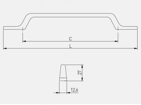 Maner mobila FLAVIO 128 mm, otel periat [1]