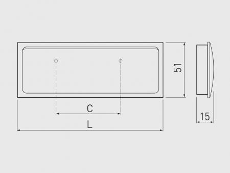 Maner mobila ingropat R132 133x51 mm, cromat [2]