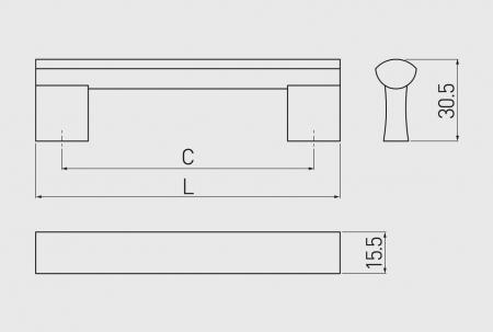 Maner mobila B311 192 mm, negru mat [1]