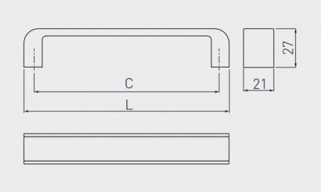 Maner mobila MONA 128 mm, alb crom [3]