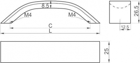 Maner mobila UA-337 192 mm, negru mat [1]