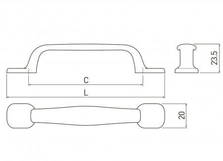 Maner mobila RETRO 96 mm, argintiu antichizat [2]