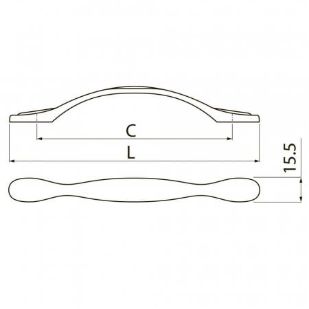 Maner mobila ROYAL PIANO 96 mm, alb auriu2