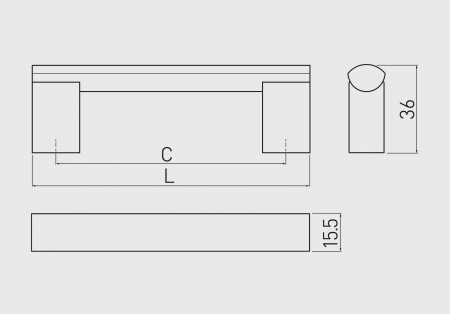 Maner mobila UA-A4 960 mm, otel periat [2]
