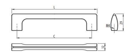 Maner mobila UZ-814 256 mm, aluminiu2