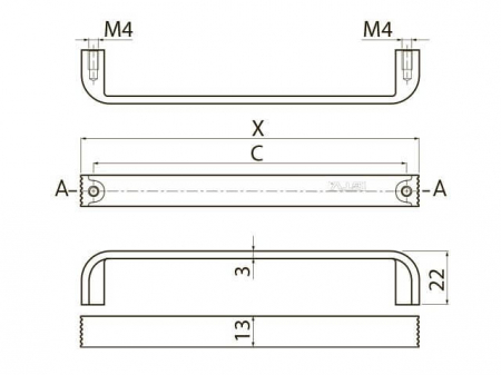 Maner mobila Shape Art VETA 128 mm, negru crom [3]