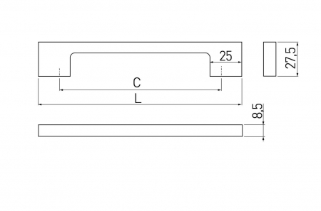 Maner mobila Zamak 192 mm, alb mat1