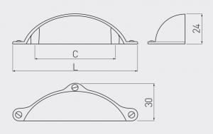 Maner mobila MARSALA 64 mm, cupru [1]