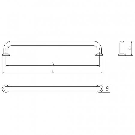 Maner mobila NORD 192 mm, negru mat4