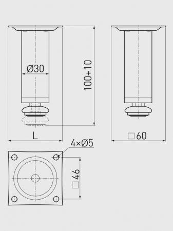 Picior mobila ajustabil BD H100 mm, metalic, cromat [1]