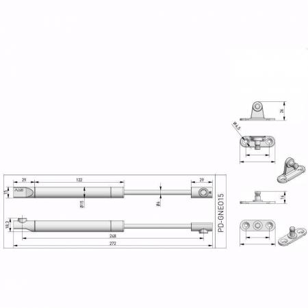 Piston (telescop) NEO cu gaz pentru ridicare usi mobila 120N, alb3
