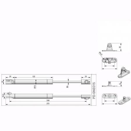 Piston (telescop) NEO cu gaz pentru ridicare usi mobila 100N, alb [3]