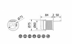 Priza incastrabila in blat 1XSCHUCKO + 1XUSB 5V 2.4A, cu cablu 1.9m si stecher, argintie1