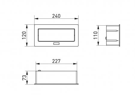 Priza incorporabila in blat, 3xSCHUKO, cablu 1.5 m inclus, alb mat [1]