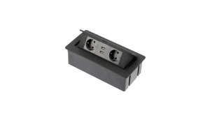 Priza incorporabila in blat 2xSchuko, 2 USB, Cablu inclus, Negru Mat0