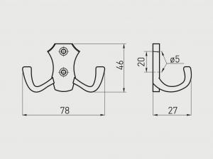 Agatatoare cuier K24-B0 78x46 mm, 2 agatatori, negru mat1