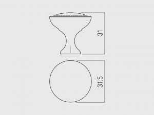 Buton mobila IMPERIA 31x31 mm, negru mat [2]