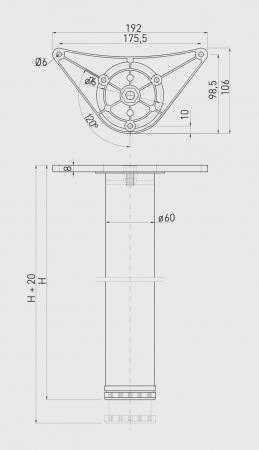 Set picioare masa A6 710 mm, alb mat [1]