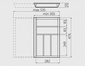 Suport tacamuri ajustabil, 305x474 mm, fag3