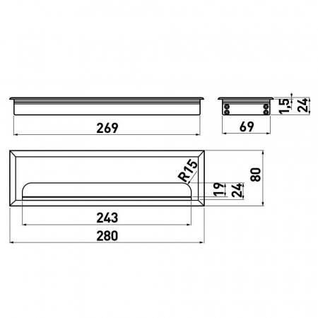 Trecere cabluri MERIDA 80x280 mm, negru mat [1]
