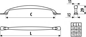 Maner mobila UN31 160 mm, alama antichizata1