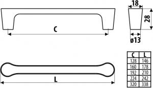 Maner mobila UU15 128 mm, cromat1