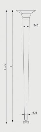 Set 4 picioare pentru birou, gama X-Line, ajustabile, H 870 mm, Negru Mat3