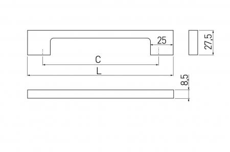 Maner mobila ZAMAK 256 mm, alb mat [1]