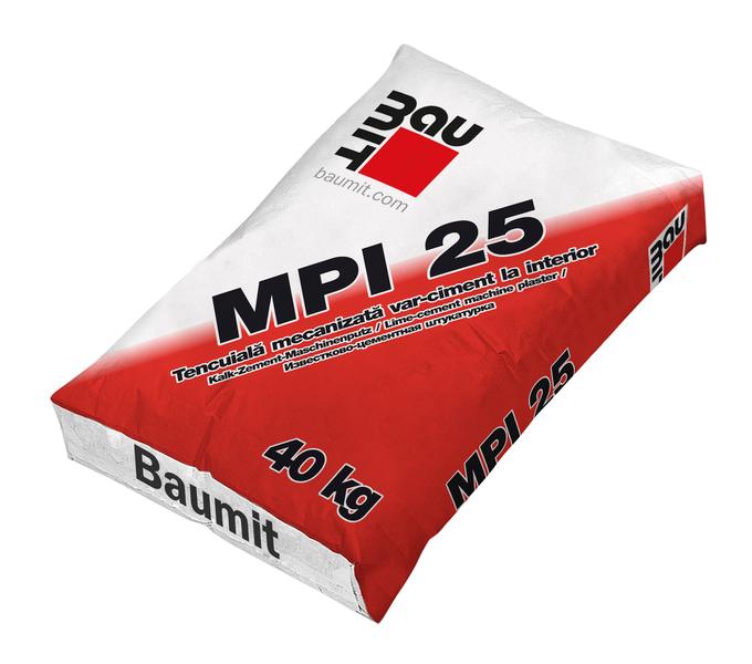 Tencuiala mecanizata var-ciment la interior Baumit MPI 25 0
