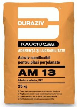 Duraziv cu Kauciuc AM13 adeziv semiflexibil pentru plăci porțelanate, interior şi exterior 25Kg 0