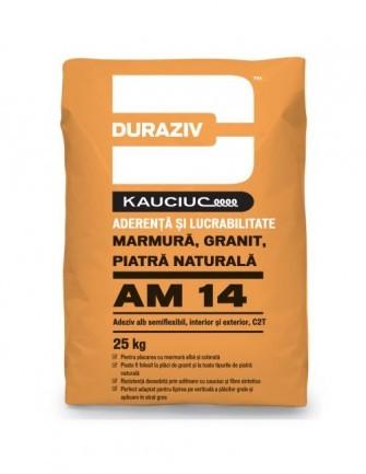 Duraziv cu Kauciuc AM14 adeziv alb semiflexibil pentru marmură, granit si piatră naturală, interior și exterior 25Kg 0