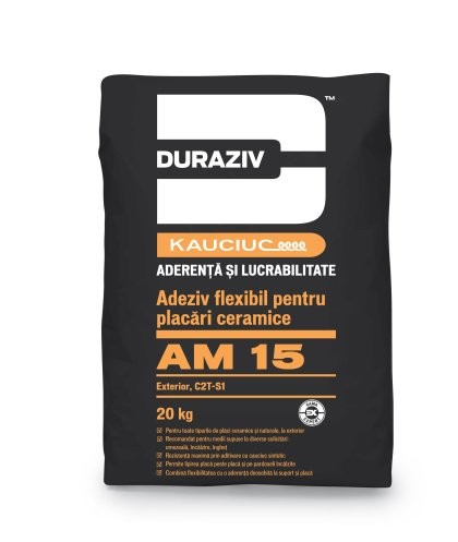 Duraziv cu Kauciuc AM15 adeziv flexibil, pentru placări ceramice, exterior 20Kg 0