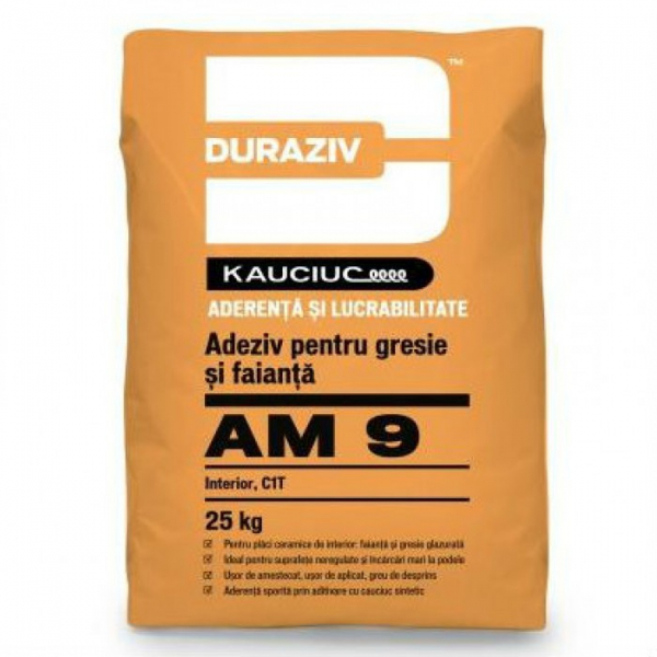 Duraziv cu Kauciuc AM9 adeziv pentru gresie și faianță, interior 25kg 0