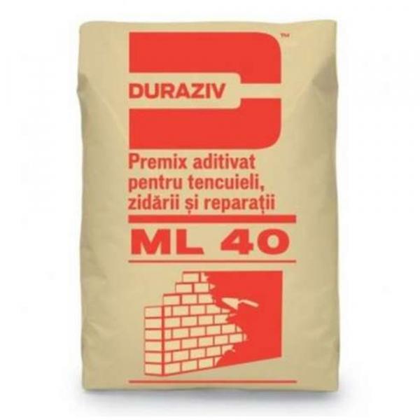 DURAZIV ML 40 Premix aditivat pentru tencuieli, zidării si reparaţii 25Kg 0